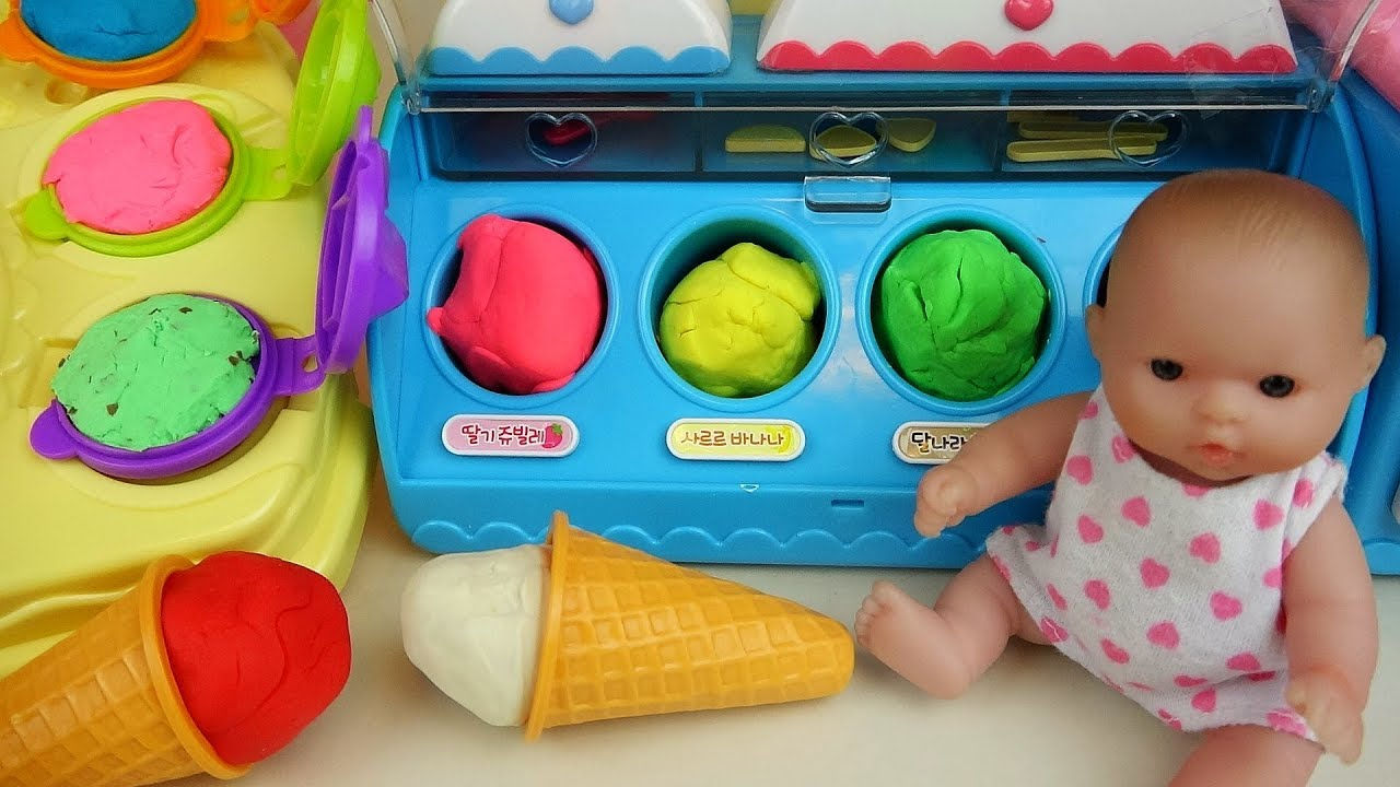 Baby doll Ice cream toys playing with Play Doh and car toys - YouTube