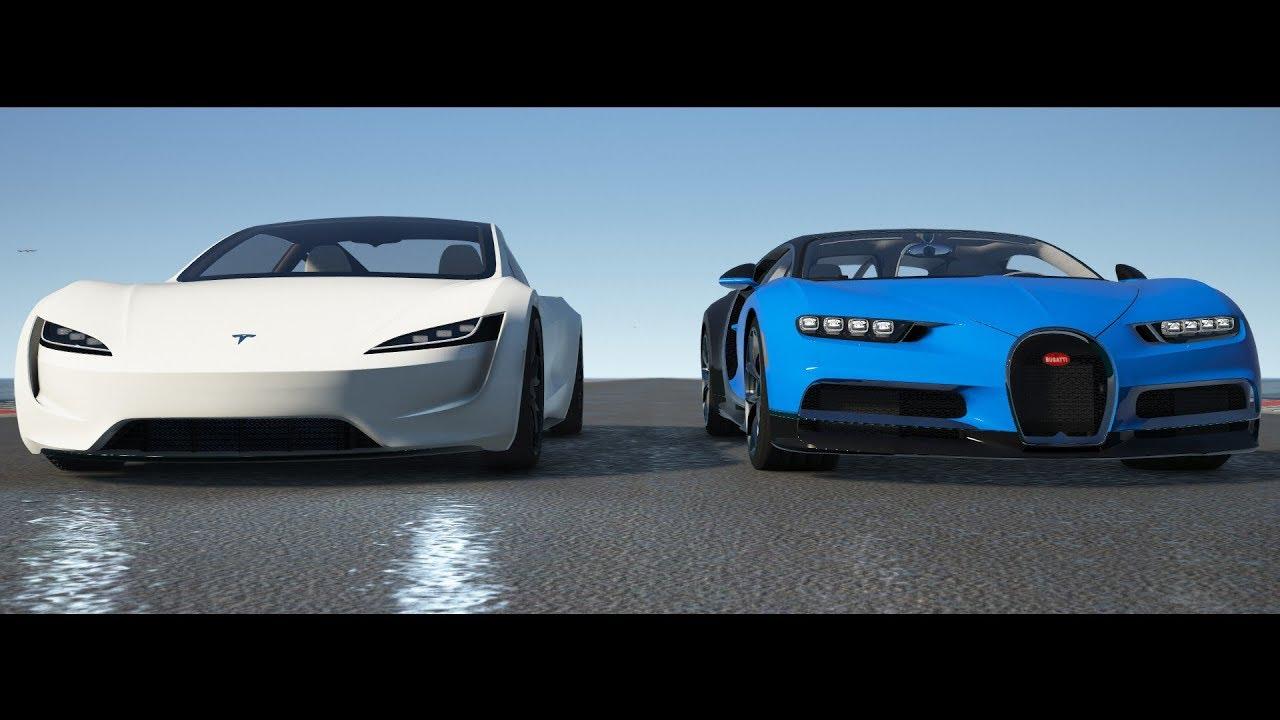 tesla roadster 2020 vs bugatti chiron - drag race in gta v - youtube