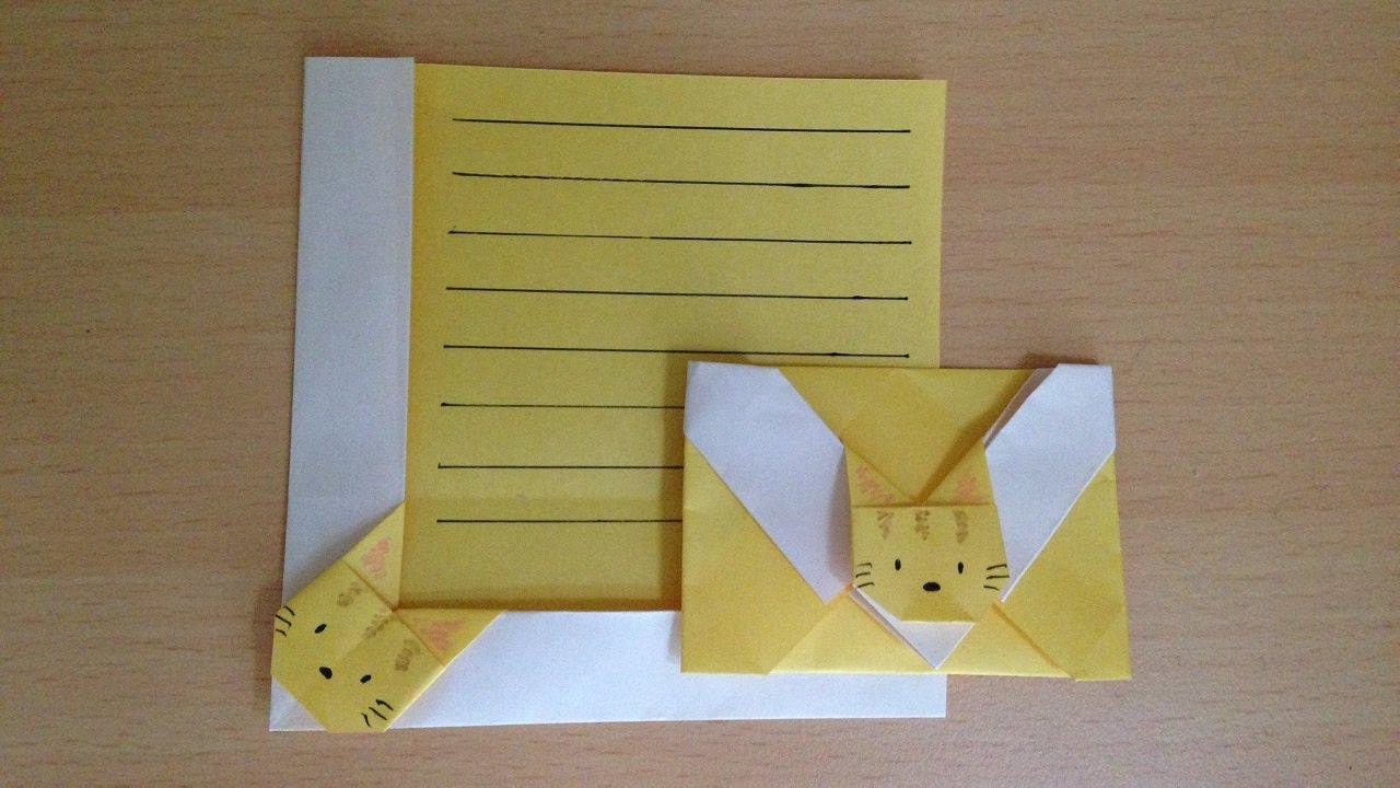 折り紙 猫の便箋 折り方niceno1origami Cat Letter Paper Youtube