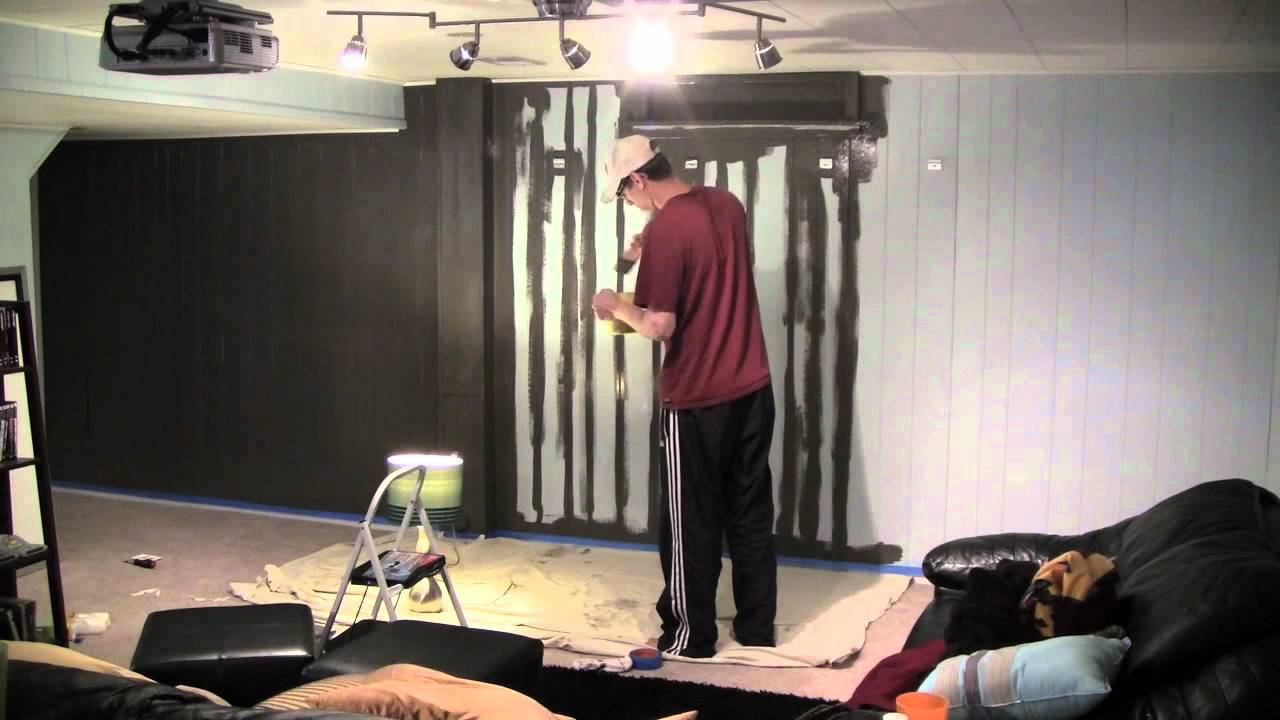 Home theater wall painting time-lapse, Jurassic Park theme song ...