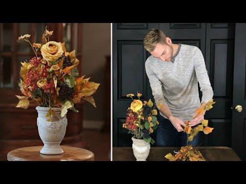 Fall Decorating Part 2 Autumn Floral Arrangement Fall Table Centerpiece Youtube