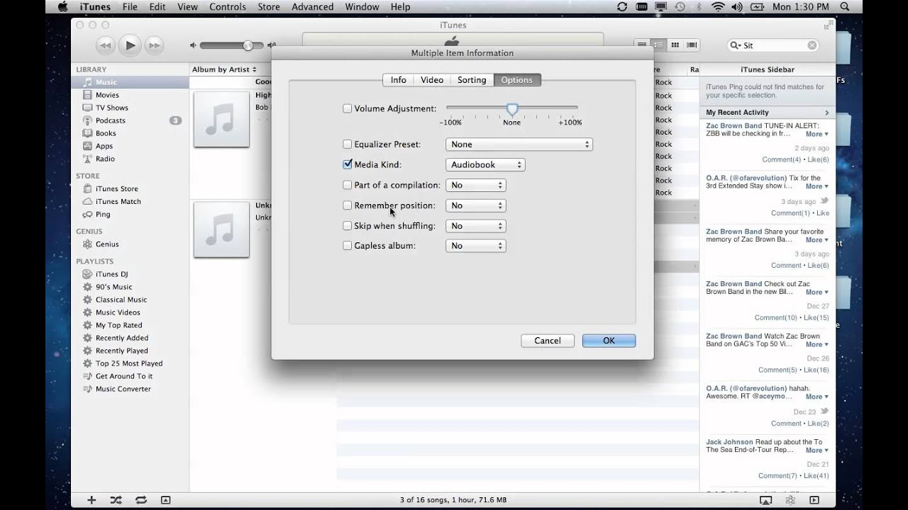 how to change file to audiobook in itunes