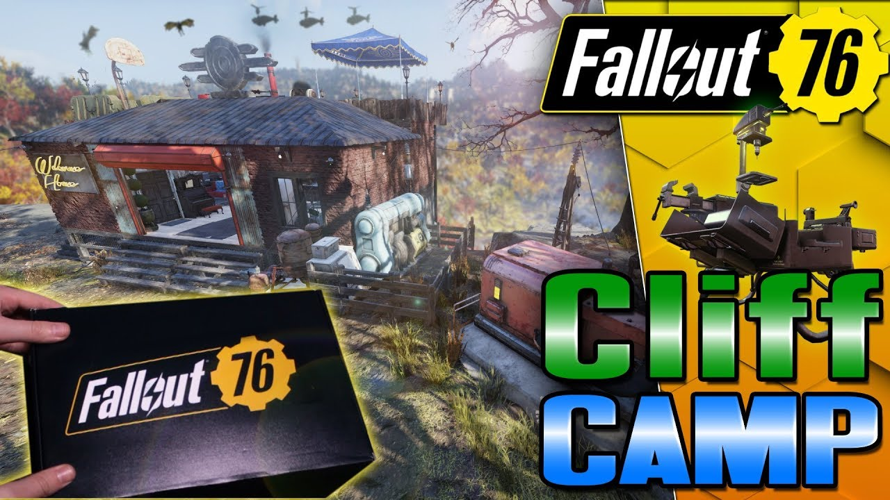 Best Cliffside Camp Location in #Fallout76 + Mystery Box from Bethesda  Unboxing