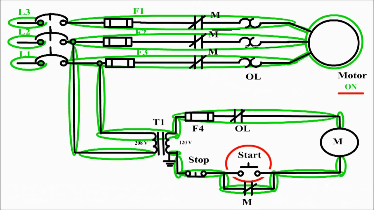Motor control circuit diagram  start stop 3 wire control