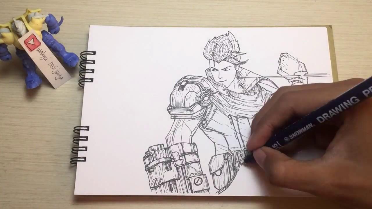 Gambar Sketsa Hero Mobile Legends Alucard