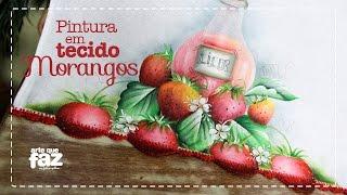 Pintura em tecido morangos por Katia Giló