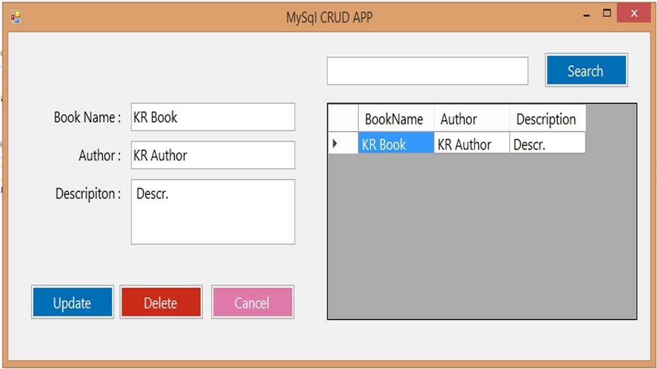 C# MySql CRUD : Insert Update Delete View and Search