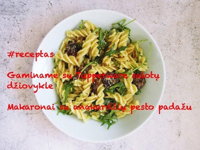 #receptas-Makaronai su anakardžių pesto padažu/Gaminame su Tupperware salotų džiovykle/Vegan Pipiras