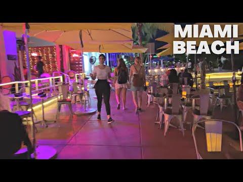 4K Miami Beach Night Walk Ocean Drive South Beach Night Life Miami, FL