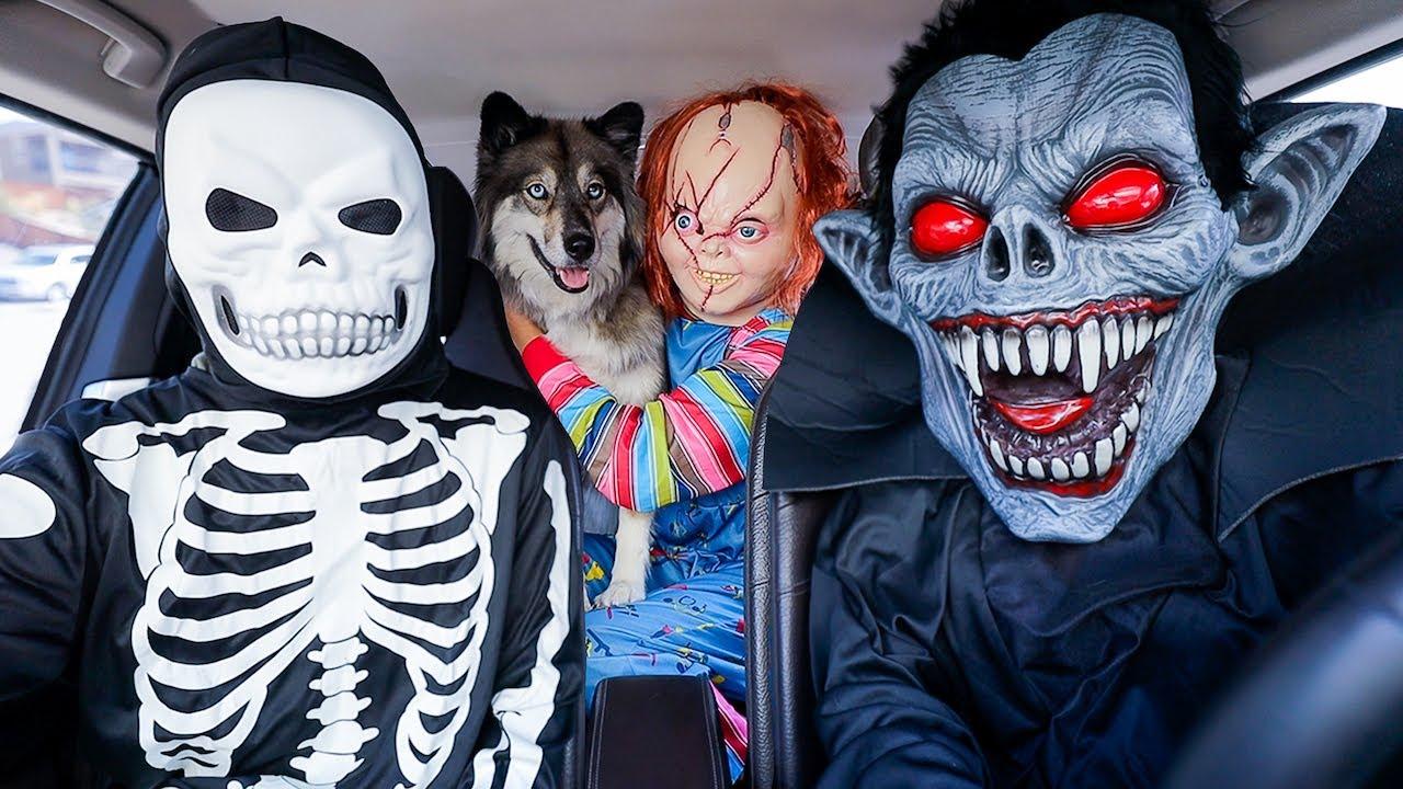 Kakoa's POV Car Ride Chase's with Chucky, Skeleton, & T-Rex Compilation!