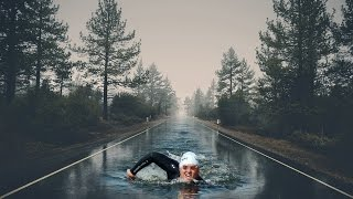 photo manipulation effect of swimming on the road   picsart