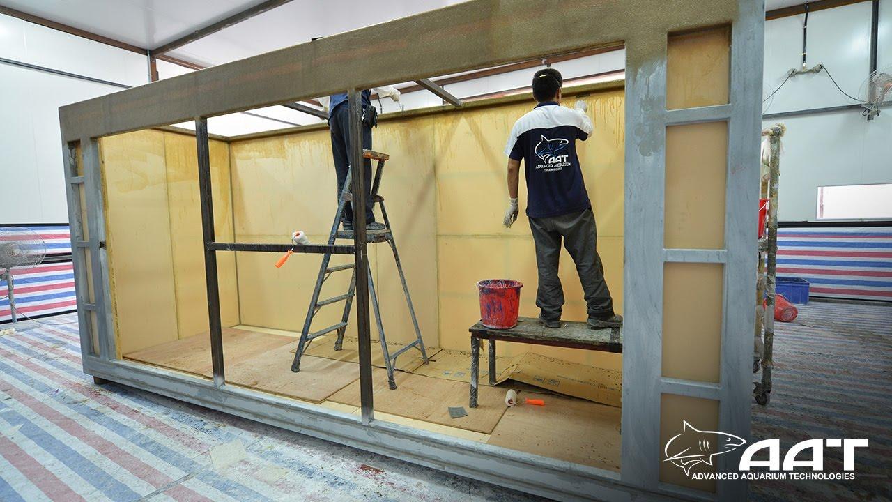 Aquarium frp tank construction youtube for Construction aquarium