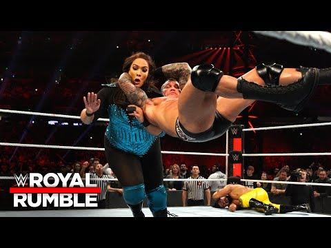 Randy Orton RKOs Nia Jax after she dominates the Men's Royal Rumble Match: Royal Rumble 2019