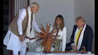 US President Donald Trump Spinning Yarn at Sabarmati Ashram