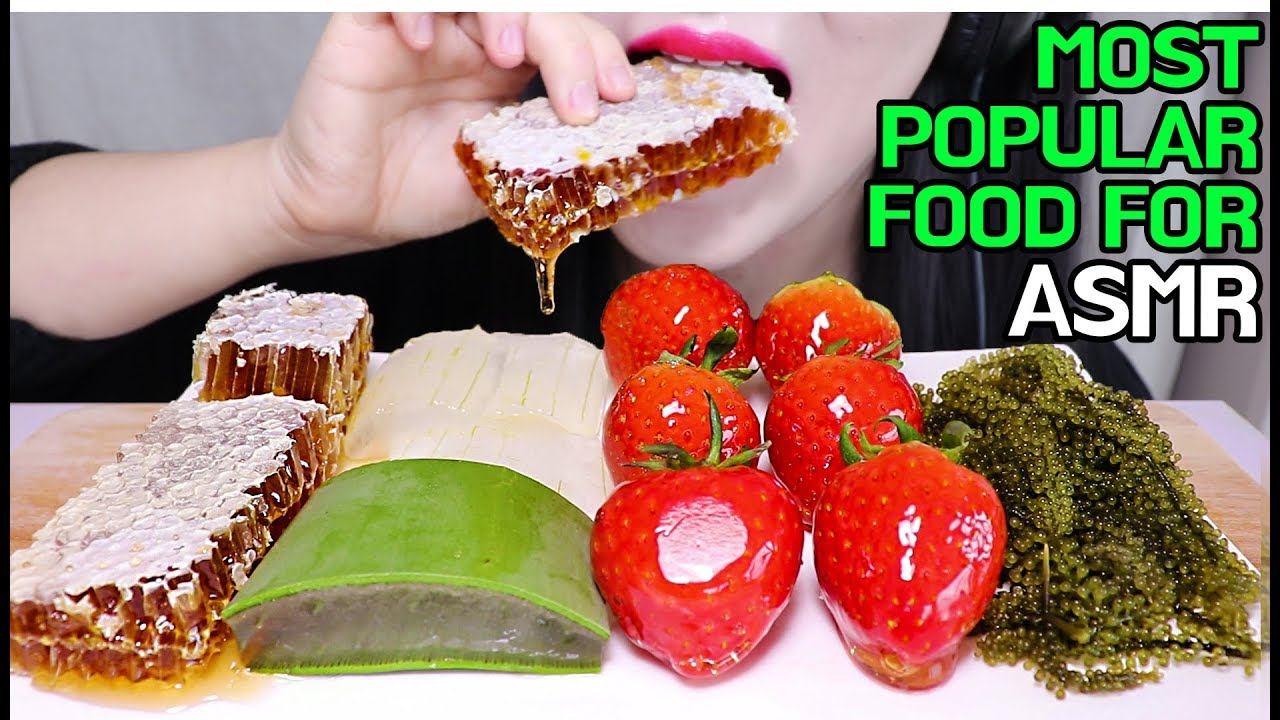 Most Popular Food For Asmr Tanghulu Aloe Vera Honeycomb Sea Grapes Eating Sounds No Talking
