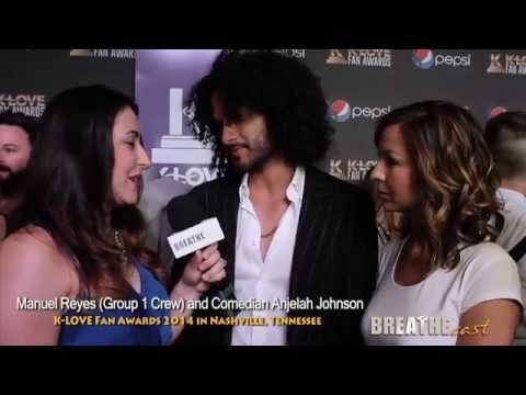 Group 1 Crew | Manwell Reyes & Comedic Wife Anjelah Johnson at KLove Awards | BREATHEcast.com (HD)