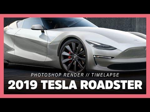 2019 Tesla Roadster P100D | Model 3 (photoshop render timelapse)