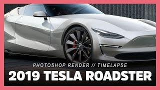 2019 Tesla Roadster P100D | Model 3 (photoshop render timelapse)