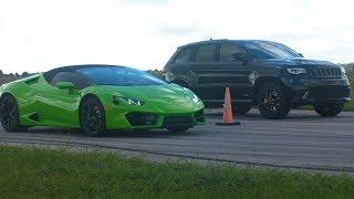 Lamborghini Huracan vs 1000 HṖ Jeep Trackhawk Drag Race