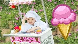 Ali pretend play with Ice cream cart market for children kids