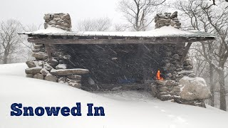Stone Shelter Camping iฑ a Snow Storm