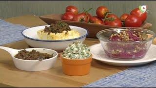 Dip de queso y tomates al tapenade, Dip de remolacha y Dip de Gremolata en Clases de Cocina