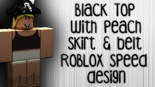 Black Top w Cream Skirt & Belt Speed Design -- ROBLOX