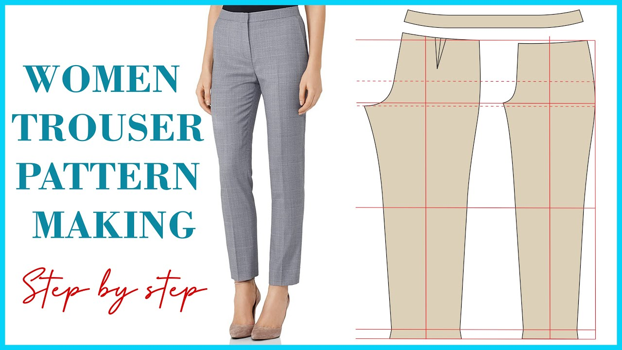 Basic Pant Pattern Drafting For Beginners   How To Make Women's Trouser Pattern [Detailed]