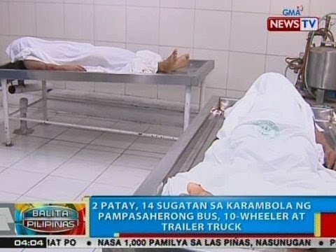BP: 2 patay, 16 sugatan sa karambola ng pampasaherong bus, 10-wheeler at trailer truck