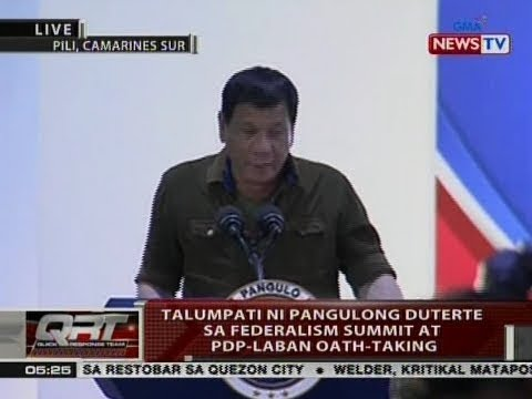 QRT: Talumpati ni Pang. Duterte sa federalism summit at PDP-Laban oath-taking