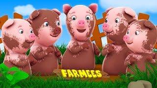 Cinco poco Piggies saltar en la cama | rimas infantiles para niños | populares Rima
