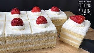 เค้กนมสด หน้าวิปครีมชีส     Moist Sponge Cake With Whipped Cream Cheese Frosting Recipe