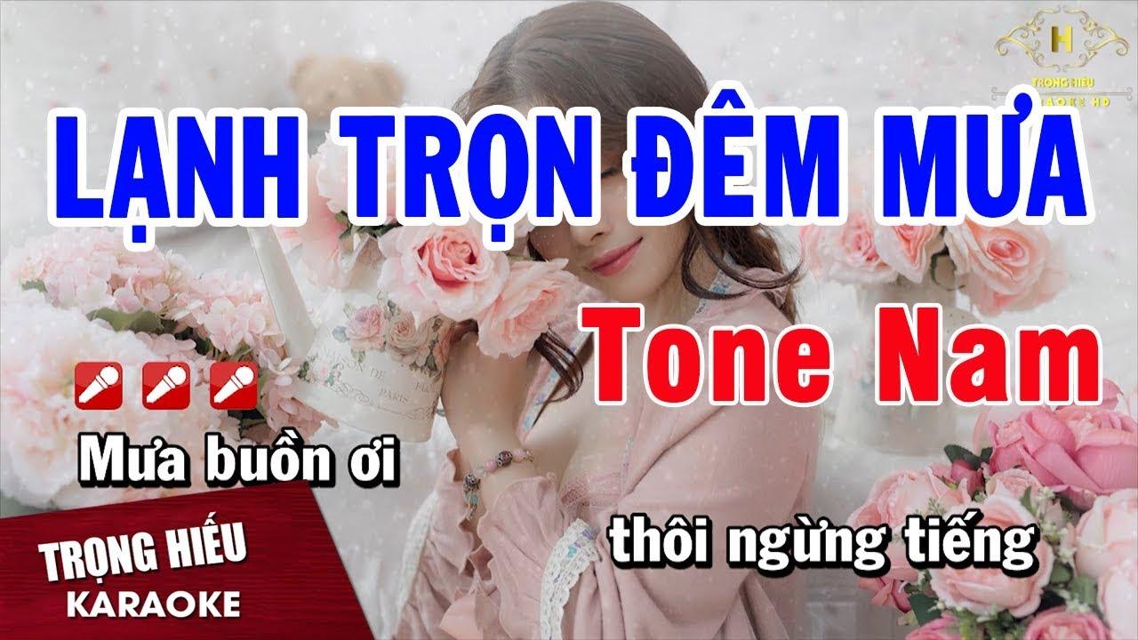 Karaoke Lạnh Trọn Đêm Mưa Tone Nam Nhạc Sống | Trọng Hiếu