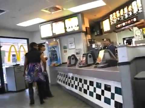ghetto racist black thug woman gets violent at mcdonalds