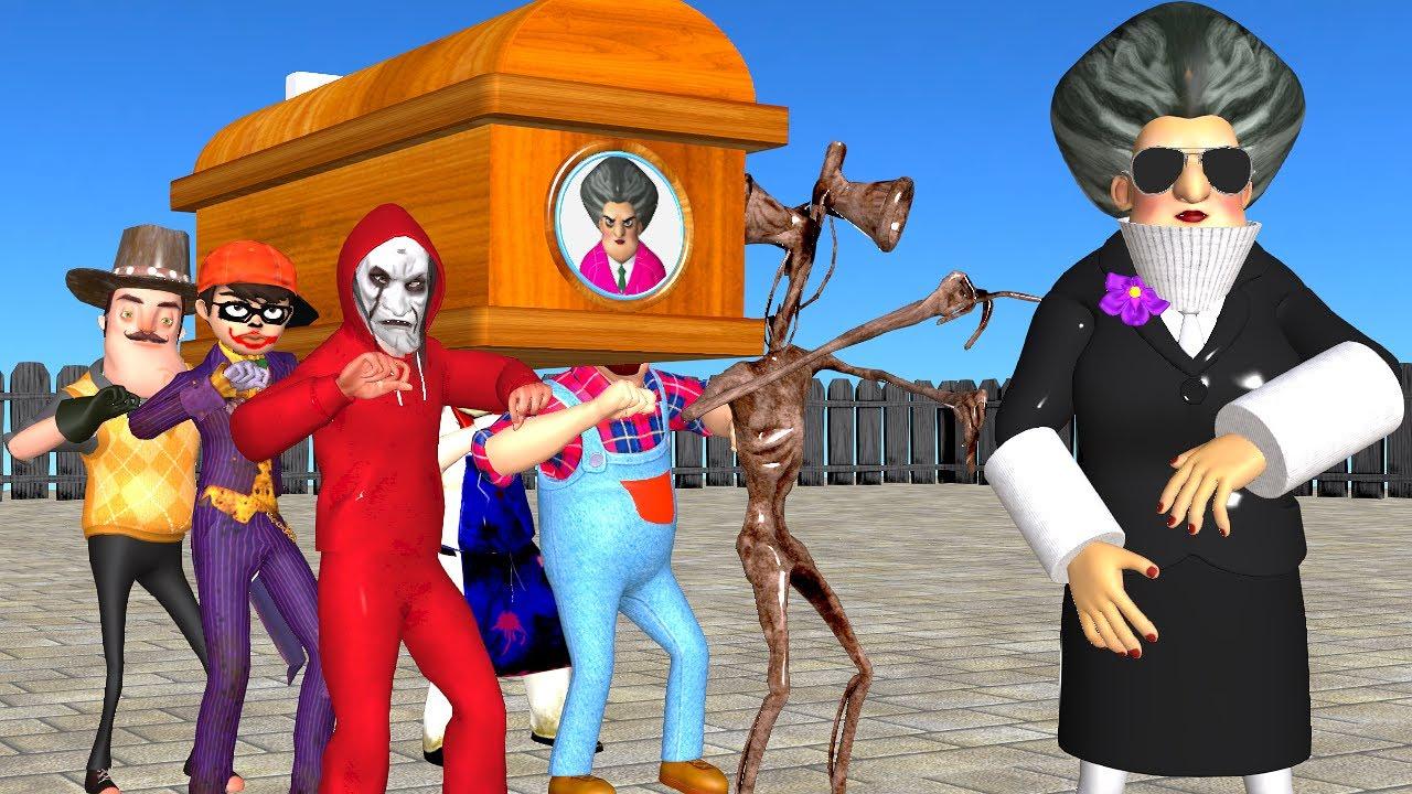 Scary Teacher 3D - Dednahype and Siren Head Troll Miss T High jump with 3 Neighbor Coffin Dance