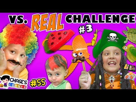 Thumbnail: GIANT GUMMY FOOD vs. REAL FOOD CHALLENGE #3 🍉 Chase's Corner Halloween Brothers |#55 DOH MUCH FUN