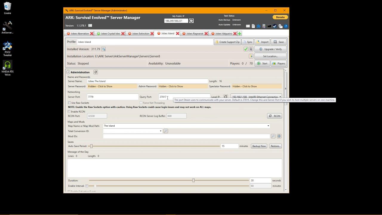 Criando servidor no Ark Server Manager
