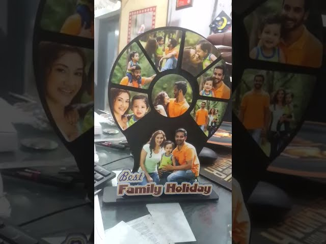 3D WOOD COLLAGE MULTI-LAYER WOOD PHOTO CUTOUT BEST FAMILY HOLIDAY 9X12 INCH   PERSONALIZED GIFTS TWF
