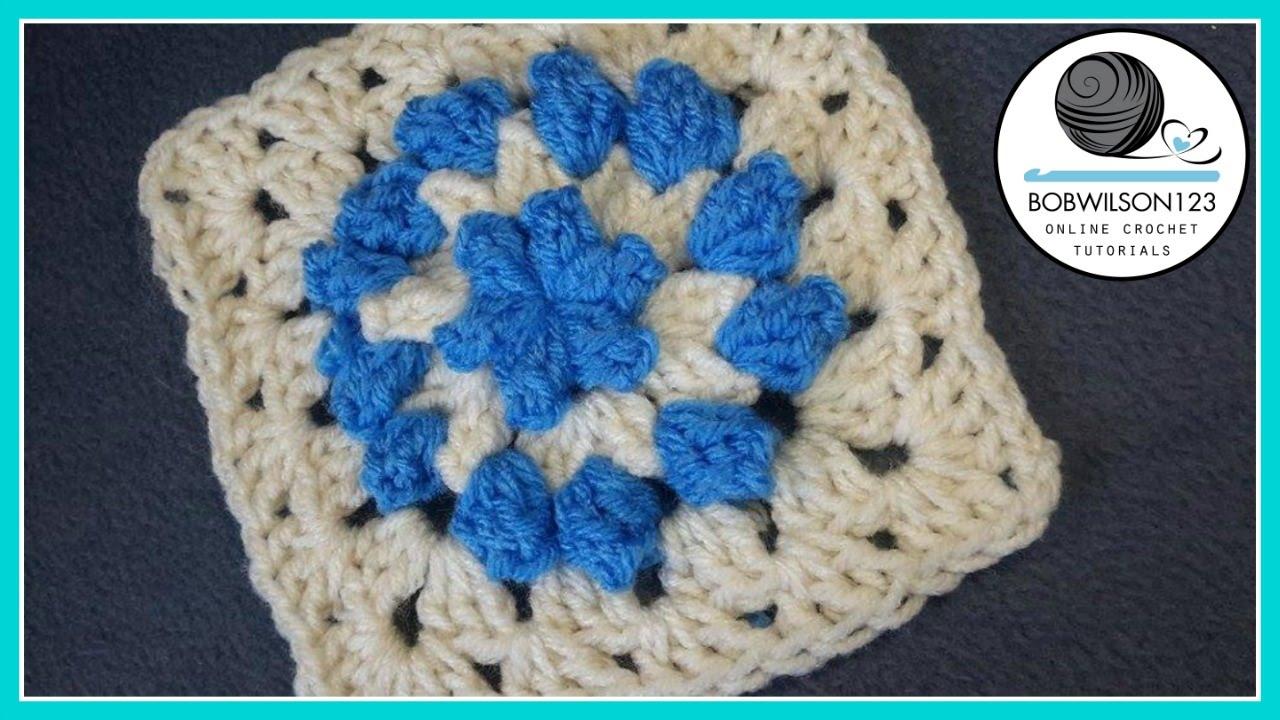 Crochet Popcorn Flower Granny Square Youtube