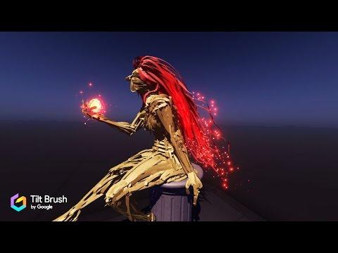 "HTC Vive - Tilt Brush VR Painting ""Fire Lady"""