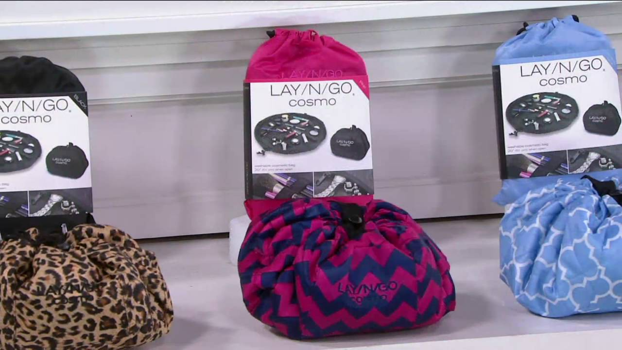 Lay N Go Set Of 2 Cosmo 20 Cosmetic Storage Travel Bag On Qvc