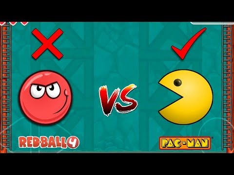 RED BALL 4 Vs PACMAN COLOR CHANGING BALL WITH GHOST ENEMY ALL CAVE LEVELS FIGHT VERSUS MODE