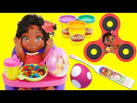Thumbnail: DISNEY MOANA Learns Good Manners Education for Kids, Eats Candy Play Doh Playset Fidget Spinner Game
