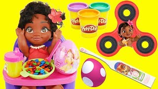 DISNEY MOANA Learns Good Manners Education for Kids, Eats Candy Play Doh Playset Fidget Spinner Game thumbnail