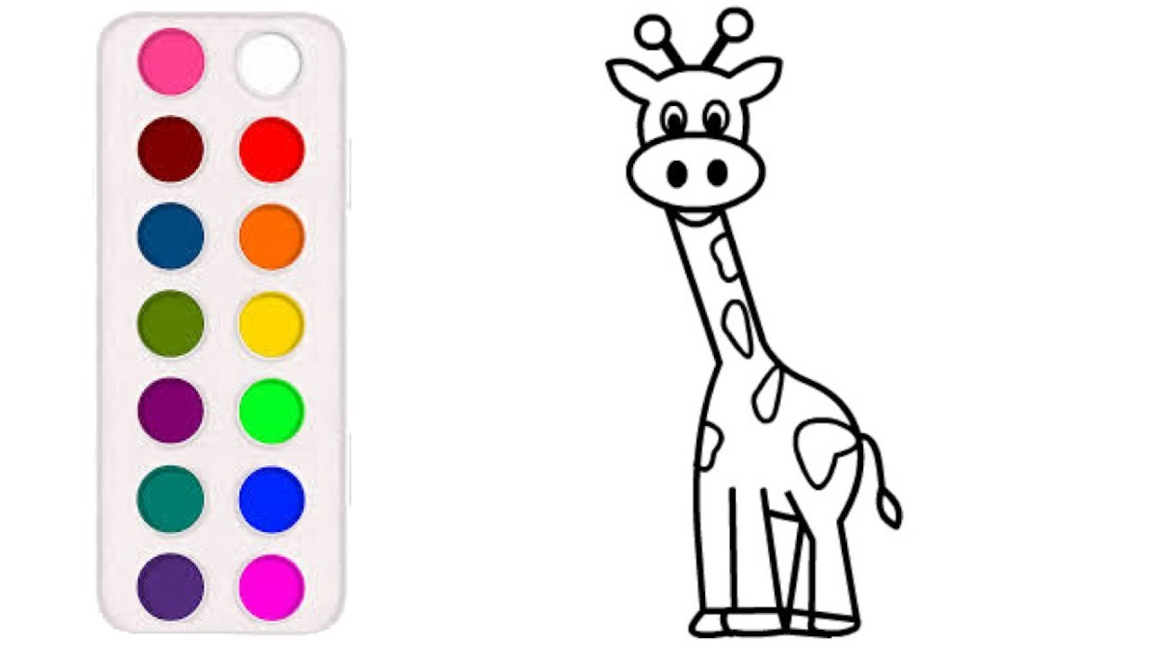 Раскраска для детей ЖИРАФ. Мультик - Раскраска. Учим цвета ...
