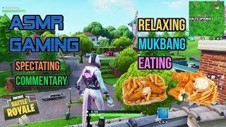 ASMR Gaming | Fortnite Mukbang Eating Fish and Chips Commentary 먹방 ???????? Relaxing Whispering????????