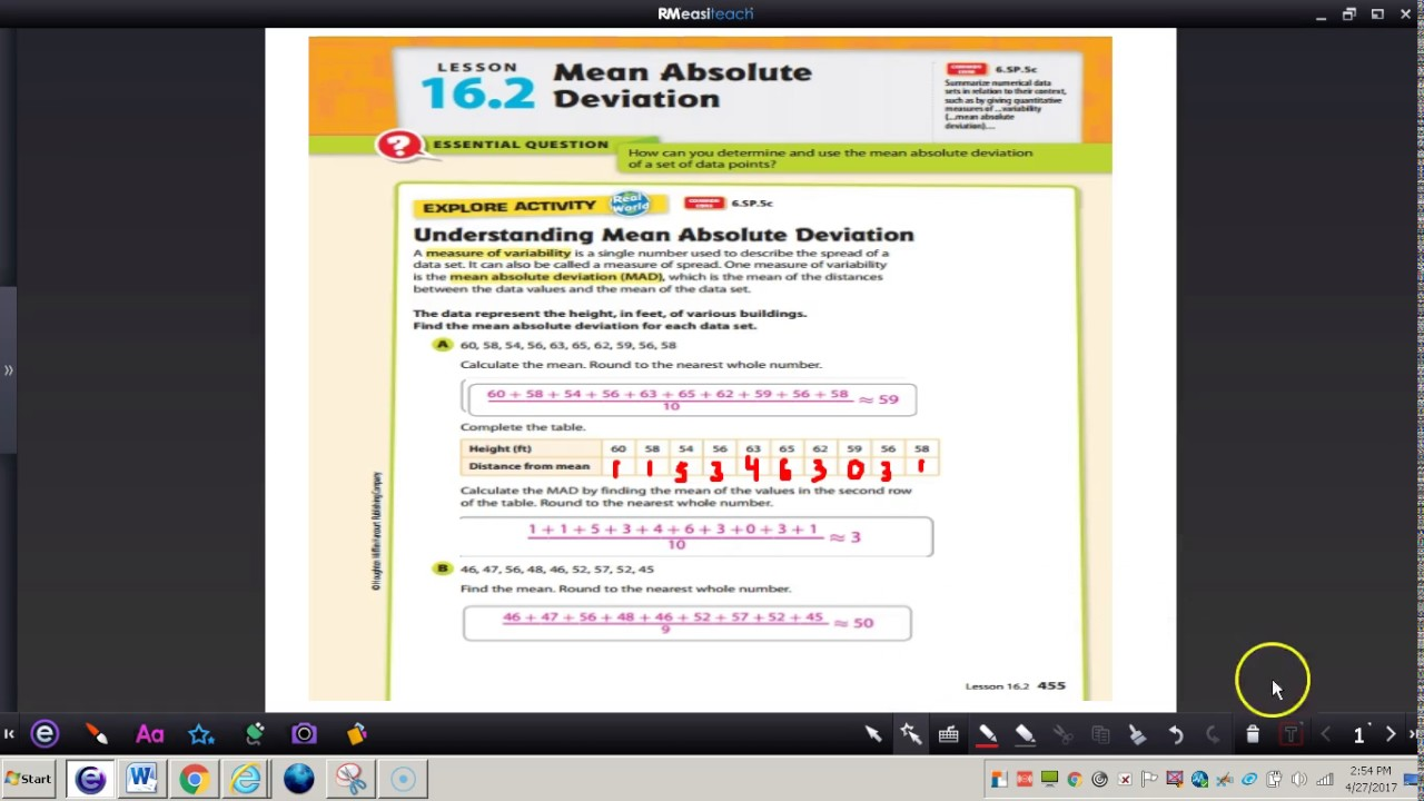 worksheet Mean Absolute Deviation Worksheets lesson 16 2 mean absolute deviation youtube deviation