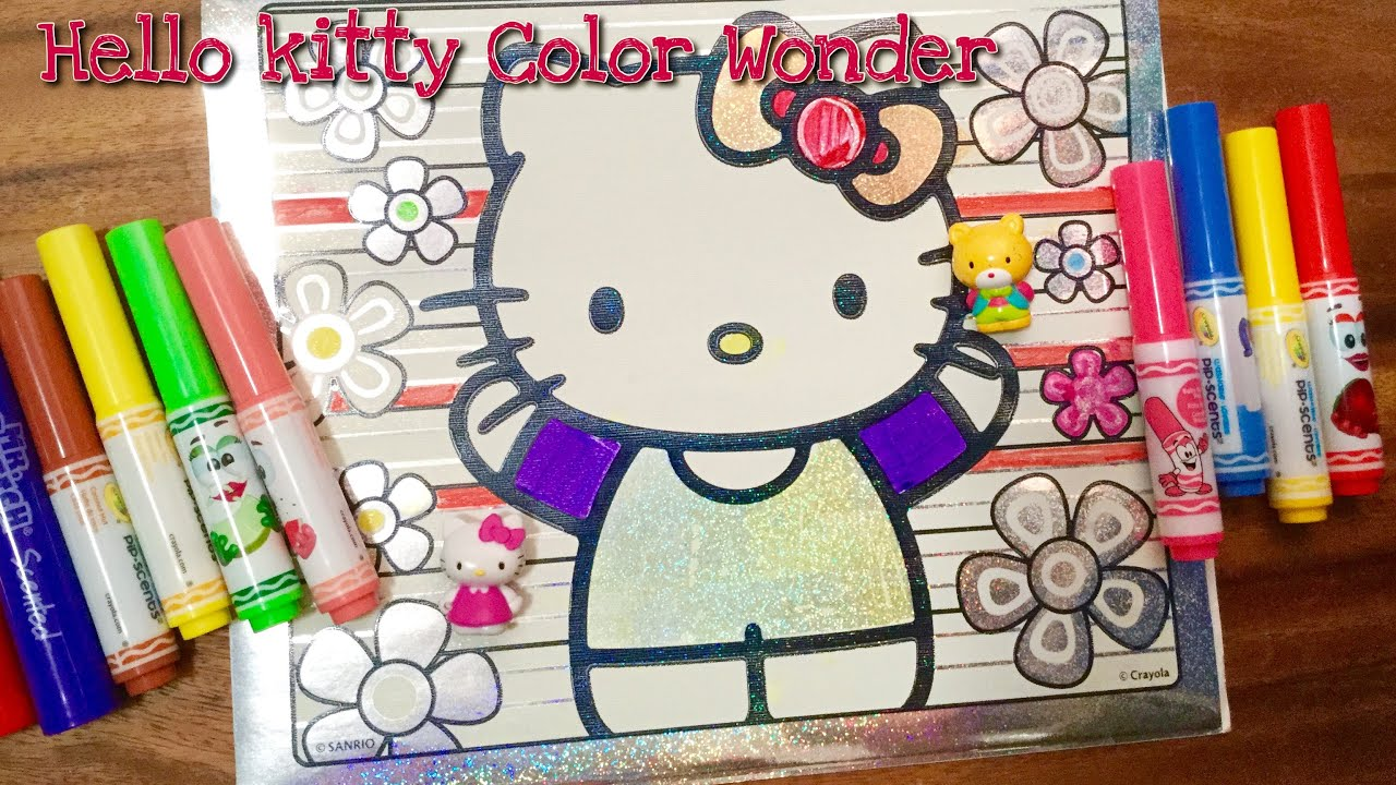 Hello kitty color owner glitter coloring book Toy Review and