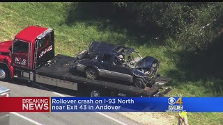 Car Rolls Over On I-93 In Andover