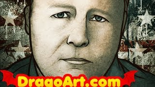 How to Draw Alex Jones, Alex Jones From Infowars and Prison Planet, Step by Step